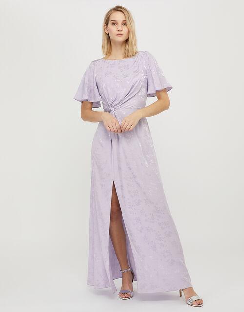 Ellinor Satin Jacquard Maxi Dress, Purple (LILAC), large