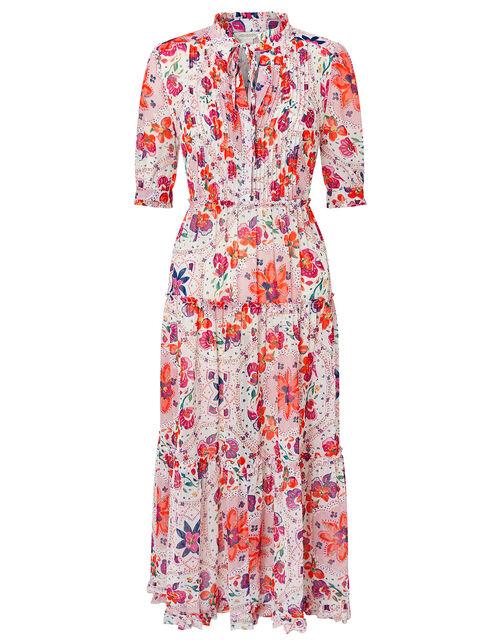 Paris Floral Shirt Dress, Ivory (IVORY), large