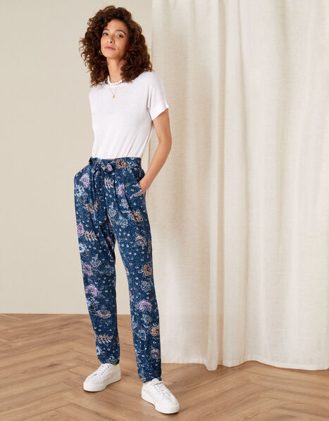 Floral Belted Jersey Trousers Blue, Blue (NAVY), large