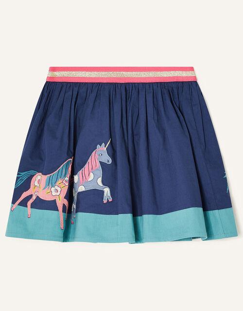 Applique Horse Scene Skirt, Blue (BLUE), large