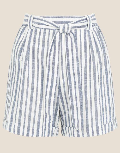Stripe Print Belted Shorts, Blue (NAVY), large