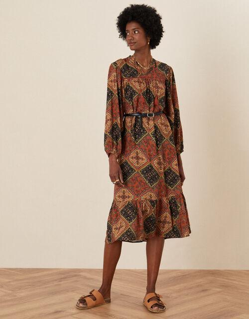Shea Scarf Print Tunic Dress, Brown (BROWN), large