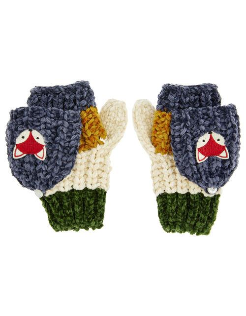 Jake Fox Stripe Chenille Capped Gloves, Multi (MULTI), large