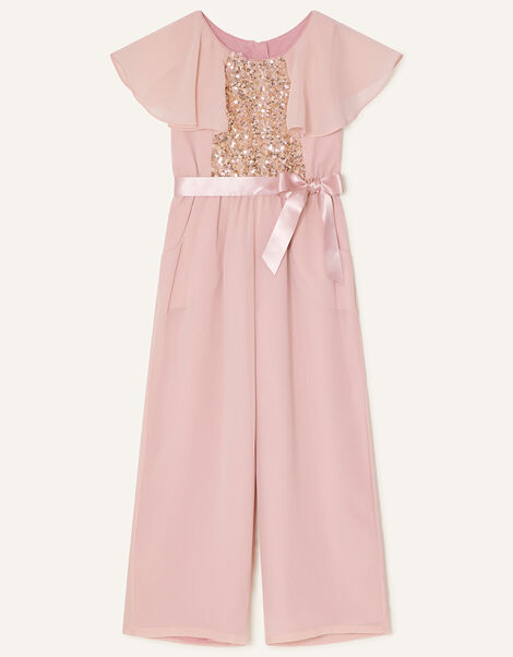 Bonita Sequin Cape Jumpsuit  Pink, Pink (DUSKY PINK), large