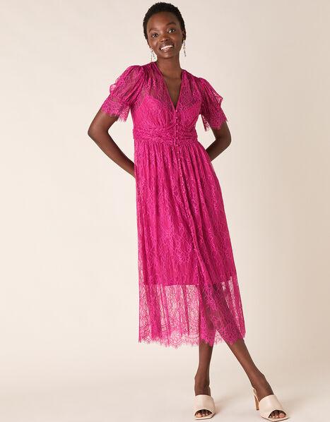 Miranda Eyelash Lace Tea Dress Pink, Pink (PINK), large