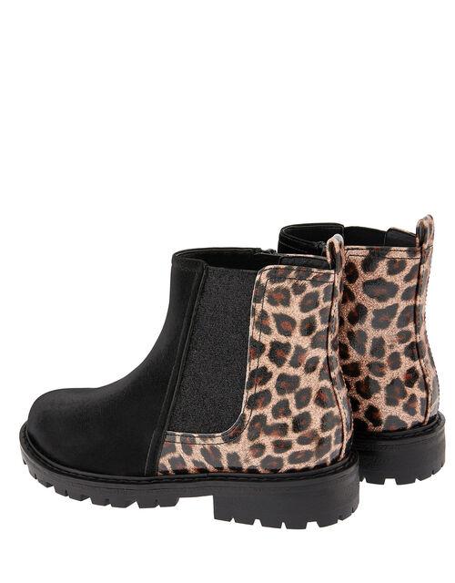 Natasha Leopard Chelsea Boots, Black (BLACK), large