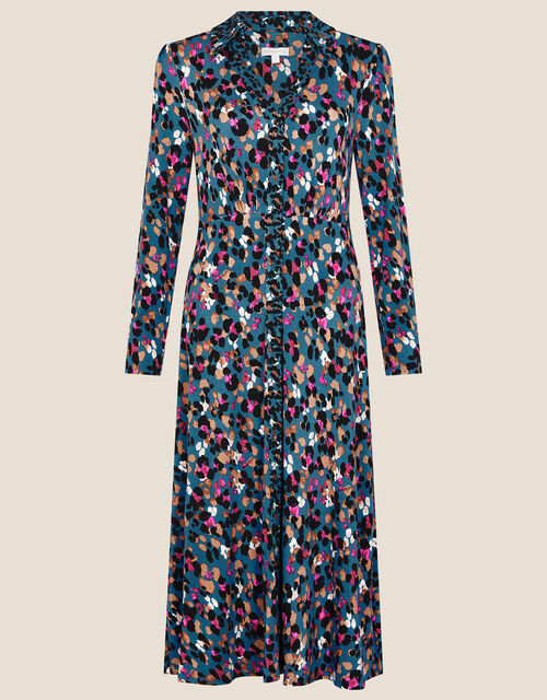 Aria Animal Print Shirt Dress, Teal (TEAL), large