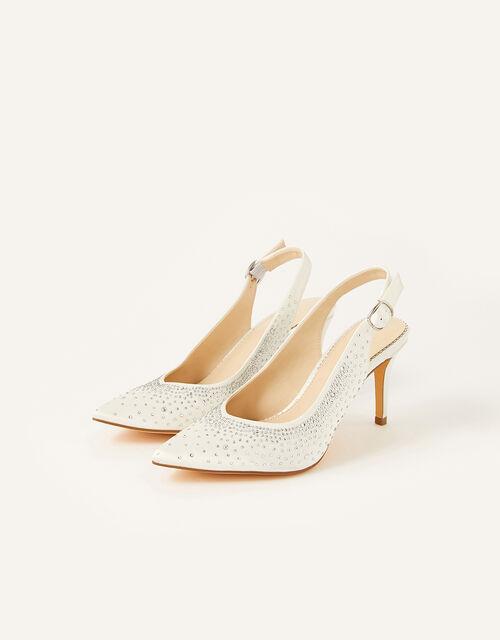 Hellie Diamante Bridal Slingback Courts, Ivory (IVORY), large