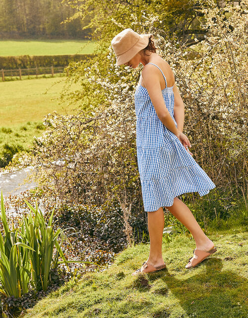 Gingham Dress in Pure Cotton, Blue (BLUE), large