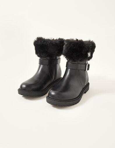 Fur Trim Butterfly Zip Boots Black, Black (BLACK), large
