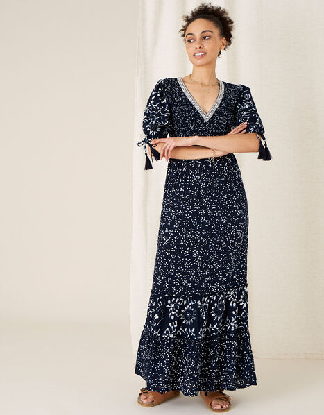 ARTISAN STUDIO Mix Print Tiered Dress Blue, Blue (NAVY), large