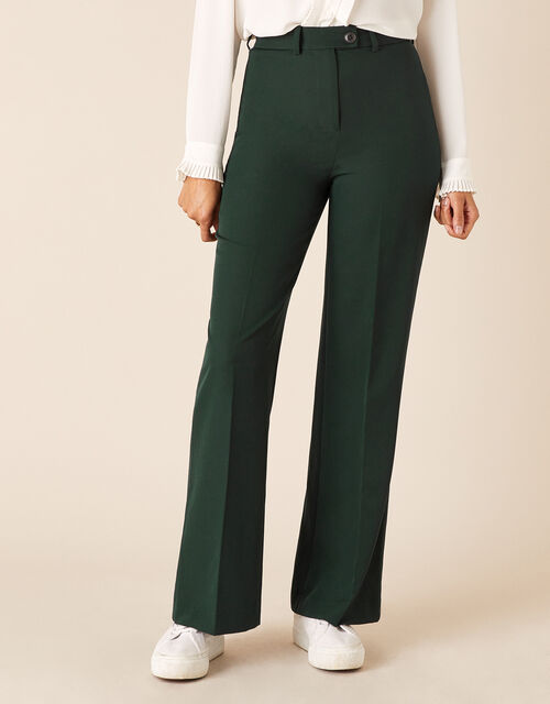 Tailored Wide-Leg Trousers, Green (DARK GREEN), large