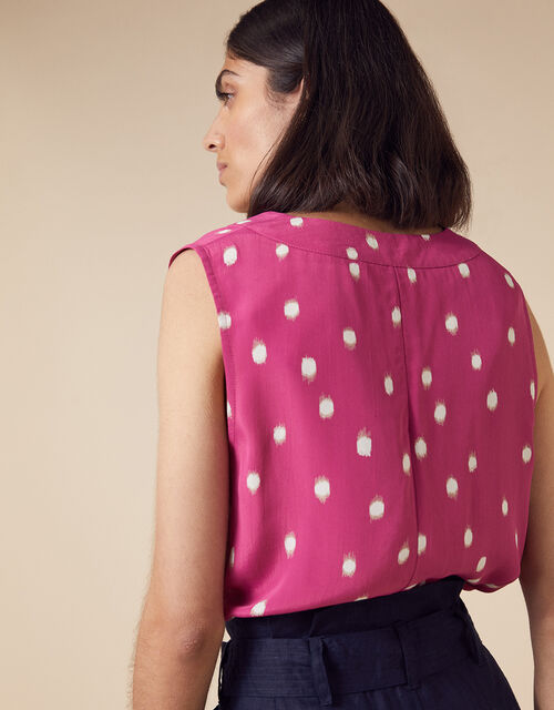 Ikat Sleeveless Spot Blouse in Sustainable Viscose, Pink (PINK), large