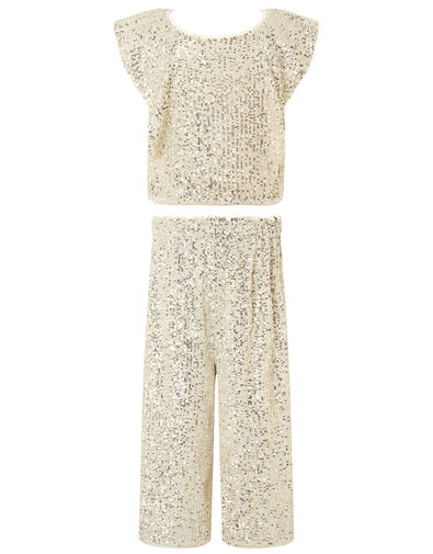 Sequin Top and Culottes Set Natural, Natural (CHAMPAGNE), large