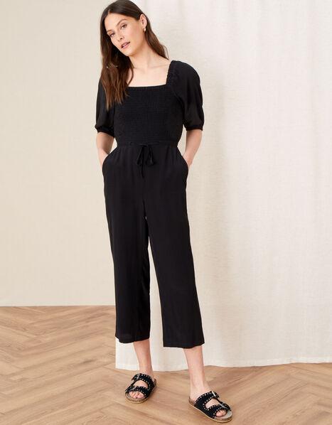 Fleur Shirred Drawstring Jumpsuit Black, Black (BLACK), large