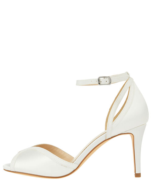 Simple Satin Peeptoe Bridal Sandals, Ivory (IVORY), large
