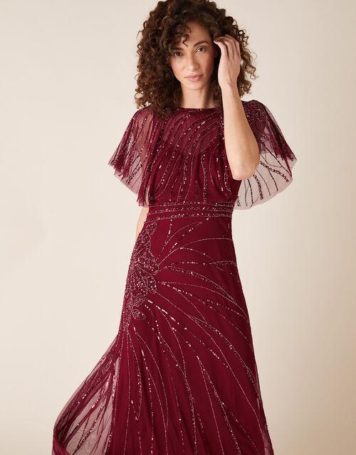 Florence Embellished Flutter Sleeve Maxi Dress, Red (RED), large