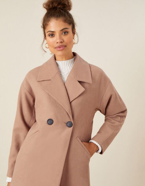 Lilian Longline Coat in Wool Blend, Camel (CAMEL), large
