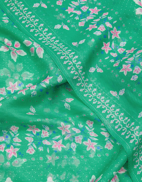 Floral Border Square Scarf in Pure Silk, , large