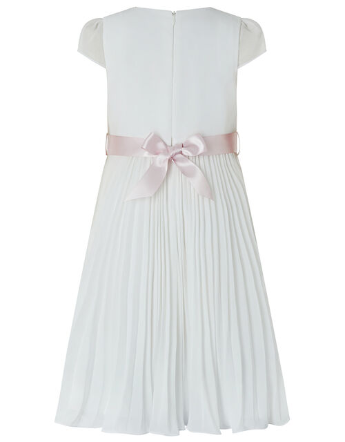 Marbella Pleated Maxi Dress with Floral Belt, Ivory (IVORY), large