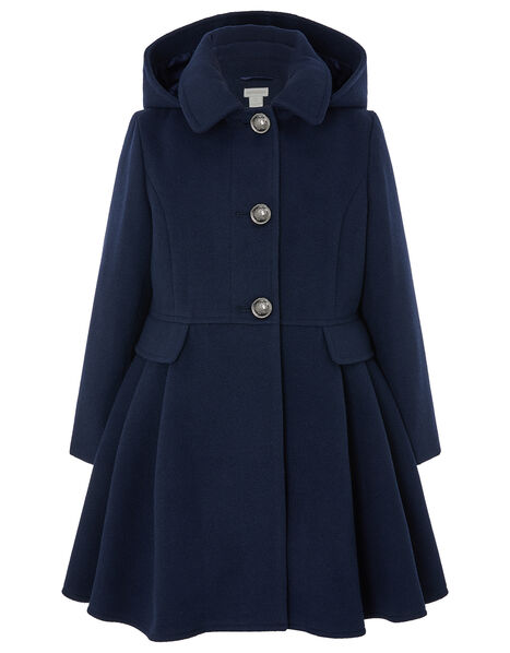 Navy Skirted Coat with Recycled Fabric Blue, Blue (NAVY), large