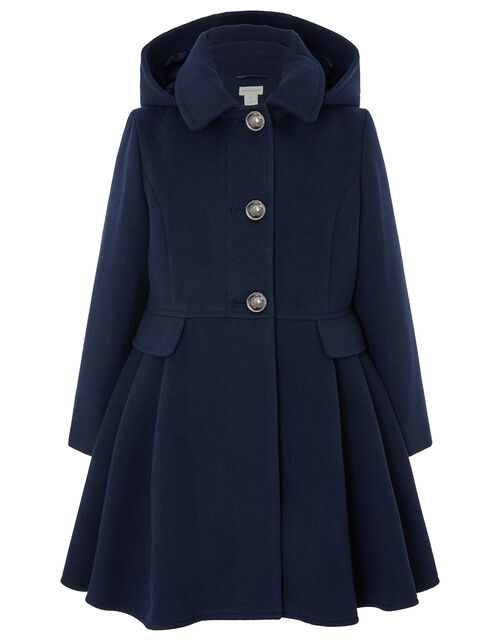 Navy Skirted Coat with Recycled Fabric, Blue (NAVY), large