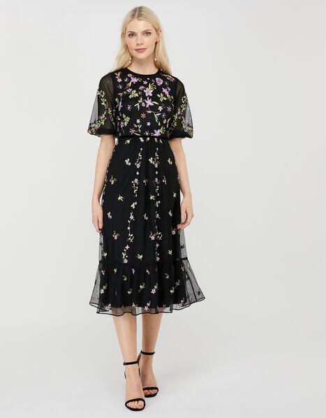 Emma Floral Embroidered Dress Black, Black (BLACK), large