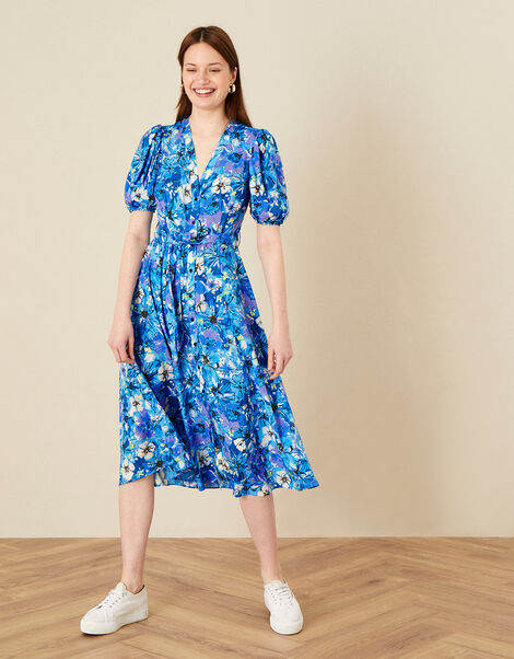 Floral Print V-Neck Shirt Dress  Blue, Blue (BLUE), large