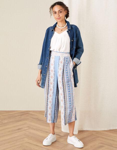 Patch Print Stripe Culottes Blue, Blue (BLUE), large