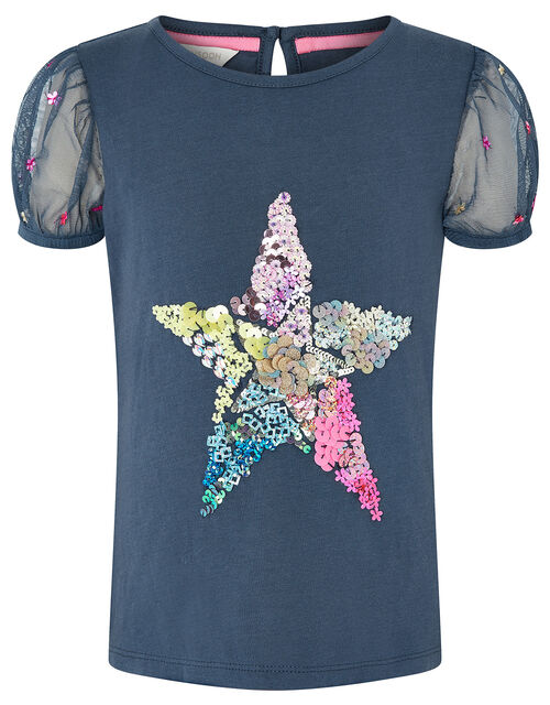 Sequin Star Puff Sleeve Top, Blue (NAVY), large