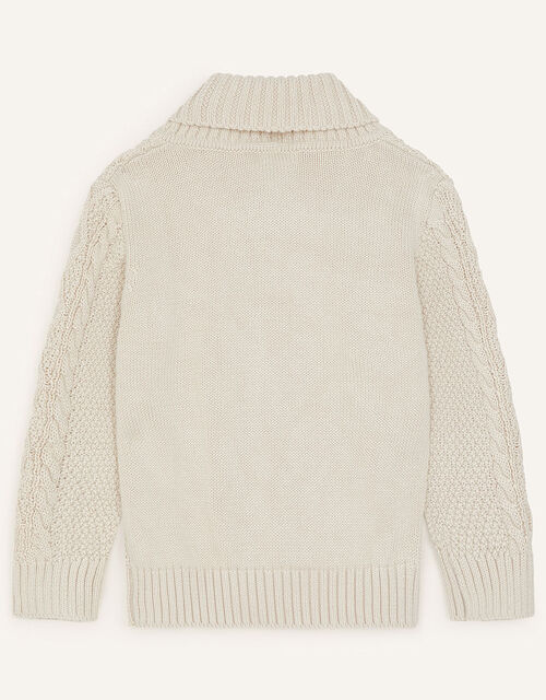 Shawl Collar Cable Knit Jumper, Camel (OATMEAL), large