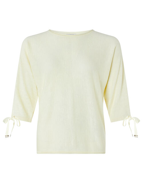 Tie Sleeve Knit Jumper in Linen Blend, Yellow (YELLOW), large