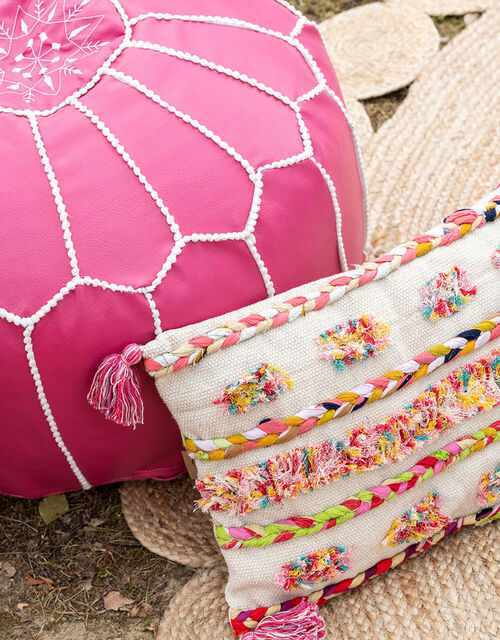 Braided Textile Cushion in Pure Cotton, , large