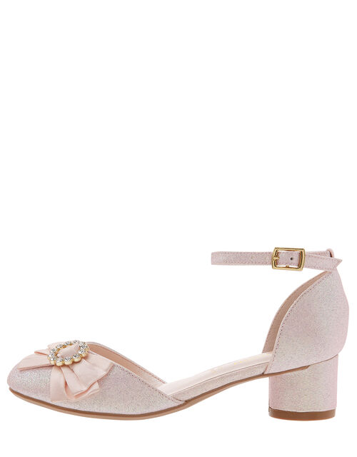 Eloise Diamante Bow Shimmer Shoes, Pink (PALE PINK), large