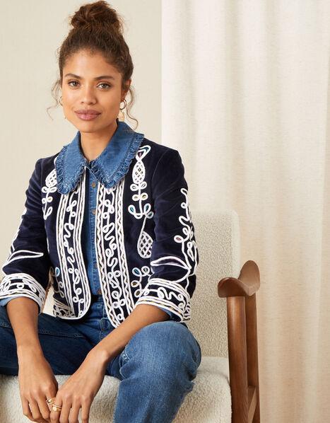 Embroidered Velvet Jacket Blue, Blue (NAVY), large