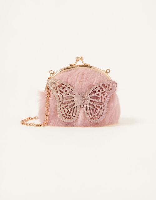 Glitter Butterfly Fluffy Bag, , large