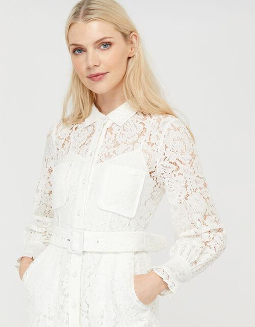 Yvie Lace Shirt Midaxi Dress, Ivory (IVORY), large