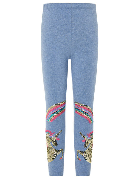 Rainbow Unicorn Leggings in Organic Cotton Blue, Blue (BLUE), large