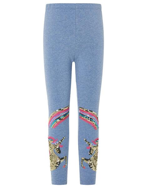 Rainbow Unicorn Leggings in Organic Cotton Blue, Blue (BLUE), large