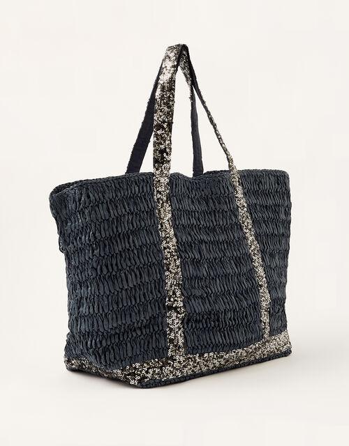 Sable Sequin Shopper Bag, Blue (NAVY), large