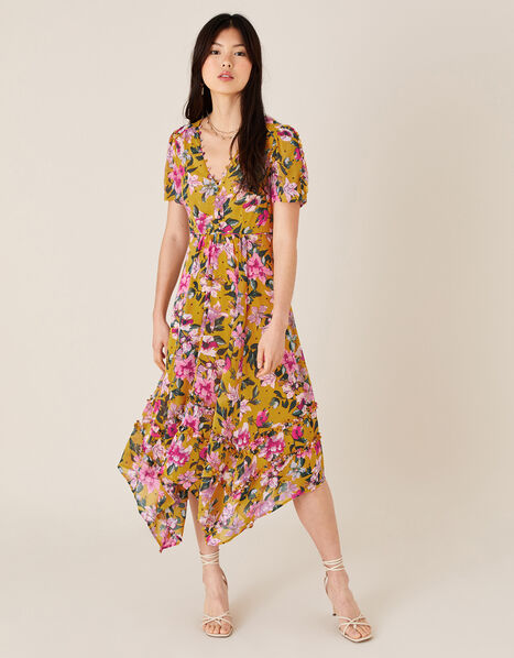 Rachel Floral Hanky Hem Dress Yellow, Yellow (OCHRE), large