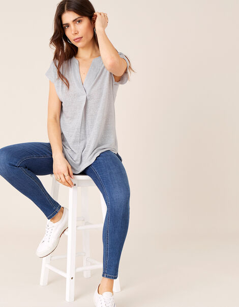 Split T-Shirt in Pure Linen Grey, Grey (GREY), large