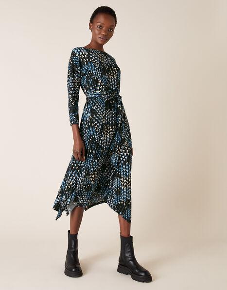 Angeline Arrow Print Hanky Hem Dress Black, Black (BLACK), large
