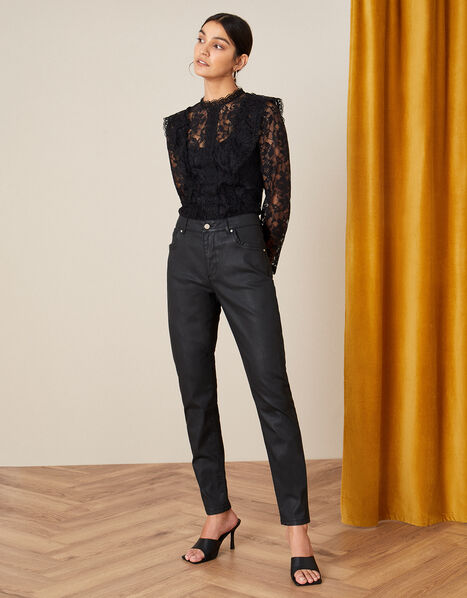 Lennox Coated Jeans Black, Black (BLACK), large