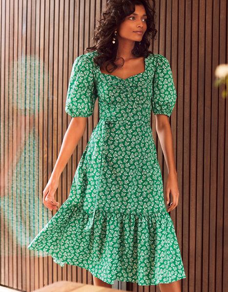 Roxie Rose Print Dress in Organic Cotton Green, Green (GREEN), large