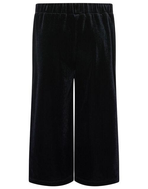 Metallic Top and Velvet Culottes Set, Black (BLACK), large