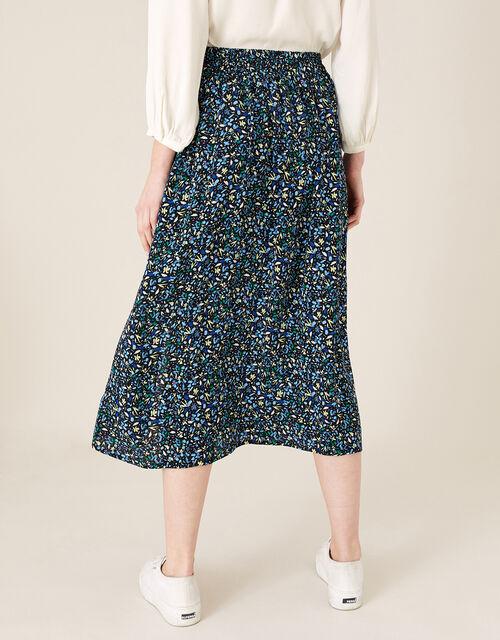 Ditsy Print Midi Skirt in Sustainable Viscose, Black (BLACK), large