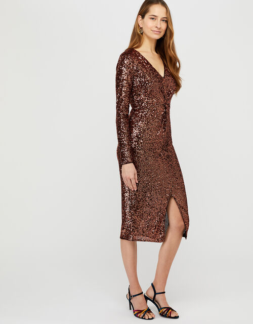 Rosie Sequin Midi Dress, Bronze (BRONZE), large