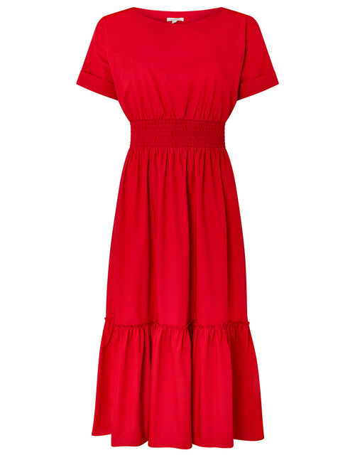 Pippa Poplin Dress in Organic Cotton, Red (RED), large