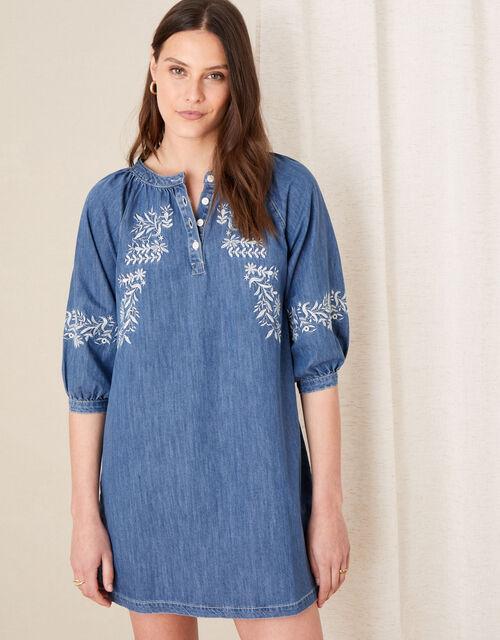 Floral Embroidered Denim Dress, Blue (DENIM BLUE), large